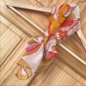 Accessories - Vintage 60s 70s sheer floral pussybow scarf